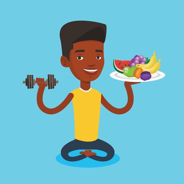 Homme En Bonne Santé Avec Des Fruits Et Des Haltères. Vecteur Premium