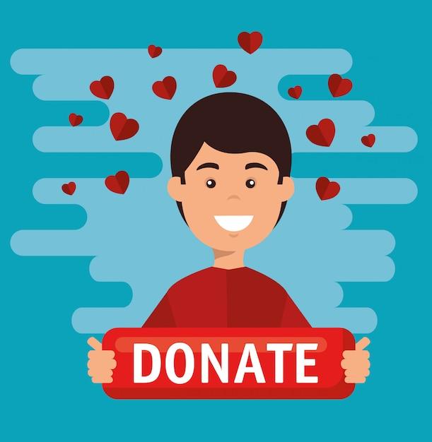 Homme à bord d'un don de charité Vecteur gratuit