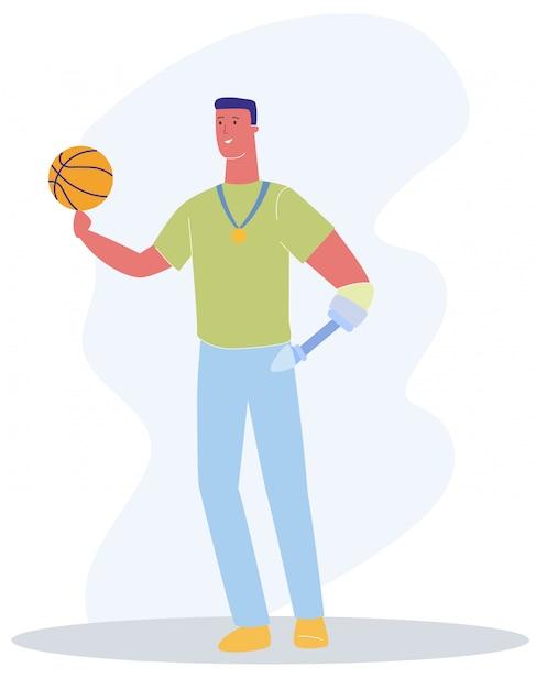 Homme avec bras de prothèse avec ballon de basket Vecteur Premium