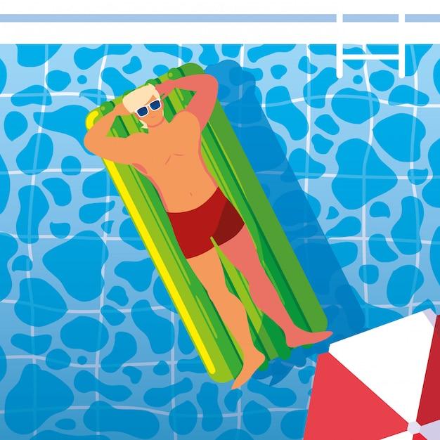 Homme bronzant en flottant sur la piscine Vecteur Premium