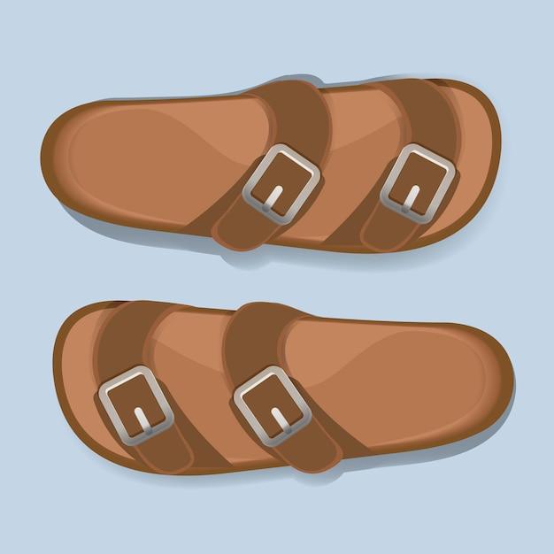 Homme Brown Casual Flip Flop Sandal Chaussures Vecteur Vecteur gratuit