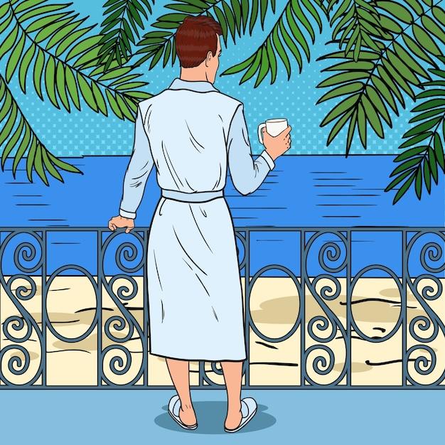 Homme Buvant Du Café Sur Le Balcon Vecteur Premium