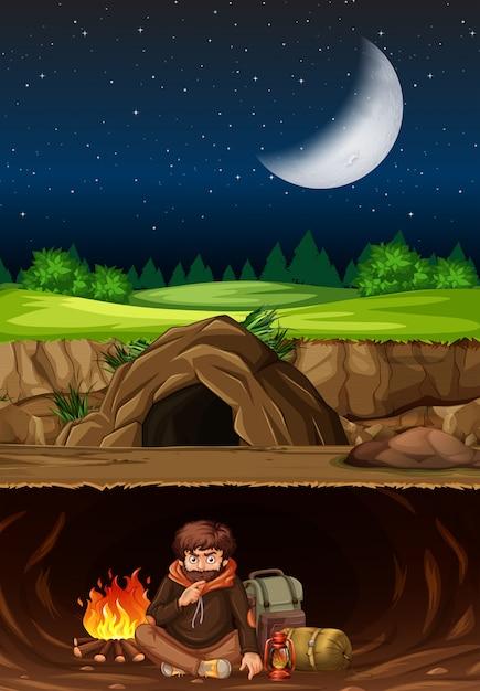 Un Homme Campant Dans La Grotte Vecteur Premium