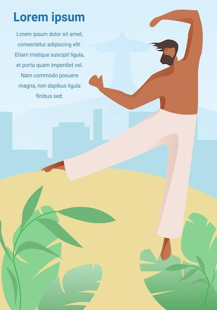 Homme capoeiriste sur fond de paysage urbain au brésil. Vecteur Premium