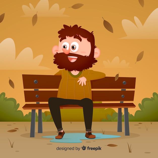 Homme de caractère sur un banc automne dans le parc Vecteur gratuit