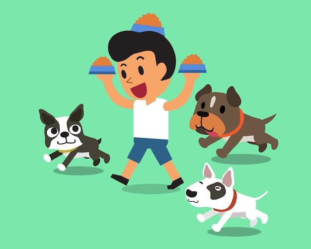 Homme cartoon, alimentation, chiens Vecteur Premium