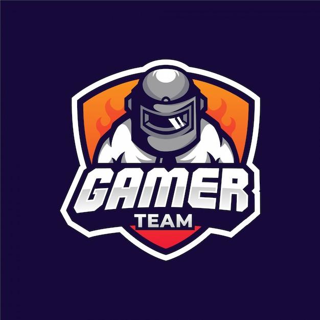 Homme avec casque pubg gamer logo d'équipe Vecteur Premium