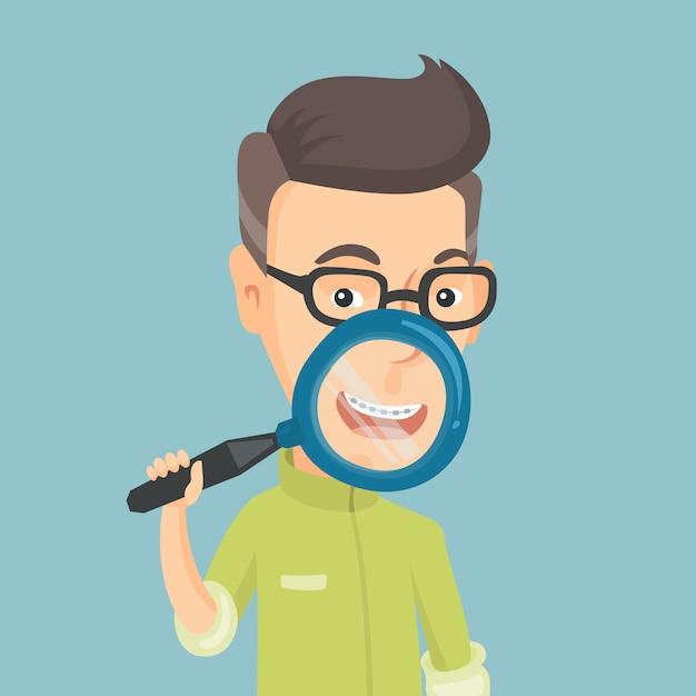 Homme Caucasien, Examinant Ses Dents Avec Une Loupe. Vecteur Premium