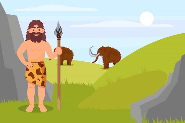 Homme Des Cavernes Préhistorique En Peau D'animal Tenant Une Lance, Paysage Naturel De L'âge De Pierre Illustration Vecteur Premium