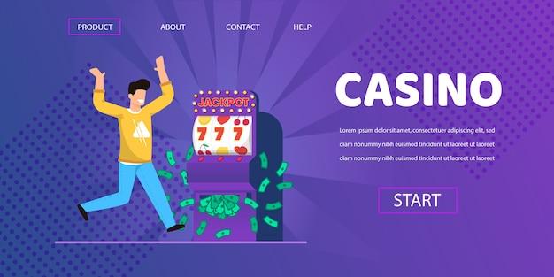 Homme chanceux gagner de l'argent en argent machine à sous illustration Vecteur Premium