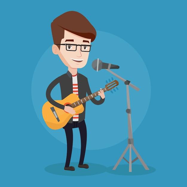 Homme Chantant Au Microphone Et Jouant De La Guitare. Vecteur Premium