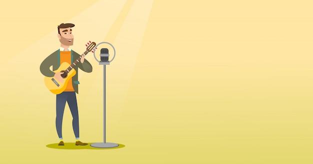 Homme chantant dans un micro. Vecteur Premium