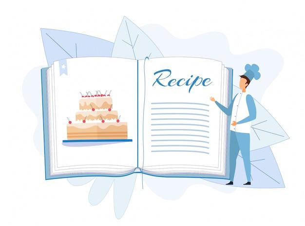 Homme chef debout près de recette de gâteau dans le livre de cuisine Vecteur Premium
