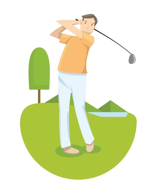Un homme en chemise jaune jouant au golf en compétition de golf Vecteur Premium