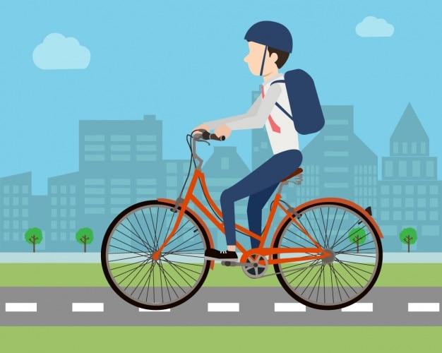 Homme à cheval une conception de vélo Vecteur gratuit