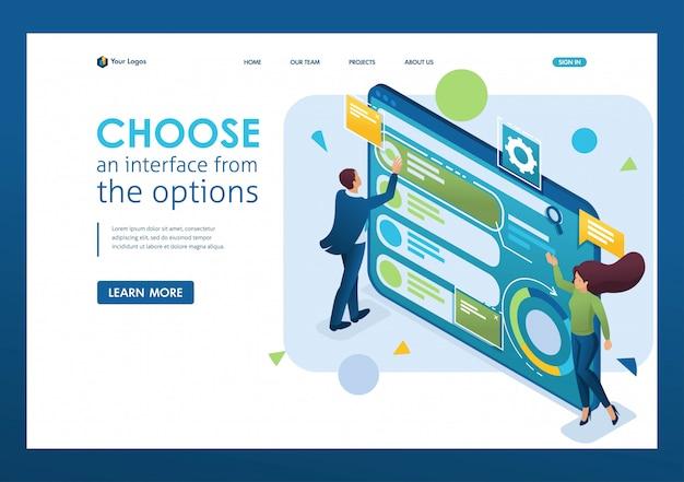 L'homme Choisit L'interface Parmi Les Options, Personnalise L'interface Utilisateur. Isométrique 3d. Concepts De Pages De Destination Et Conception De Sites Web Vecteur Premium