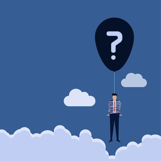 Homme De Concept Vecteur Plat Affaires Enroulé Autour D'une Chaîne De Ballon Avec Métaphore De Point D'interrogation Du Problème. Vecteur Premium