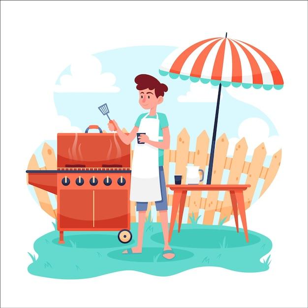 Homme, Confection, Bbq, Sien, Arrière-cour Vecteur gratuit