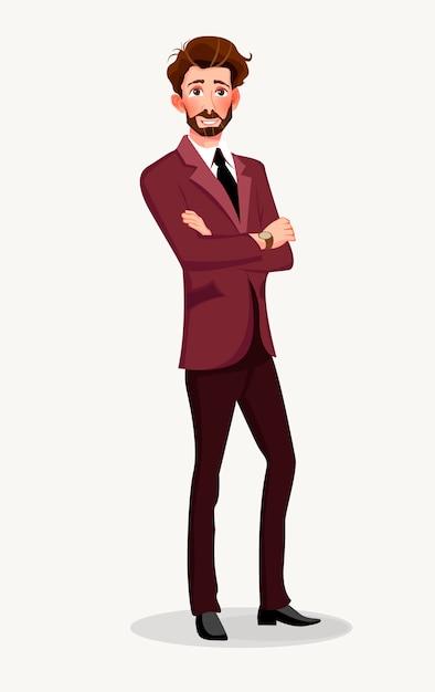 Homme en costume d'affaires. Vecteur Premium