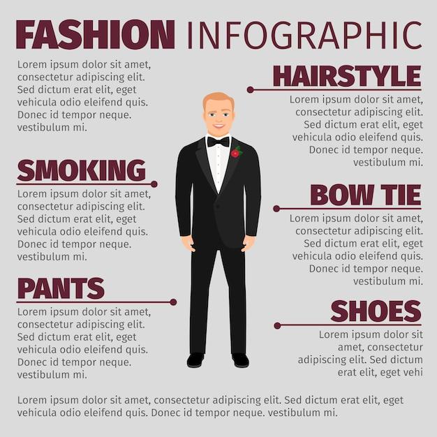 Homme en costume de mariage mode infographique Vecteur Premium