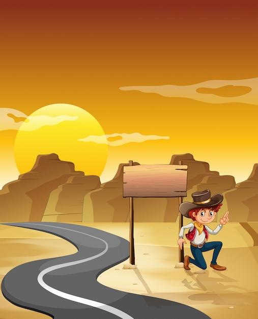 Un Homme à Côté D'un Plateau Vide Près De La Route Vecteur gratuit