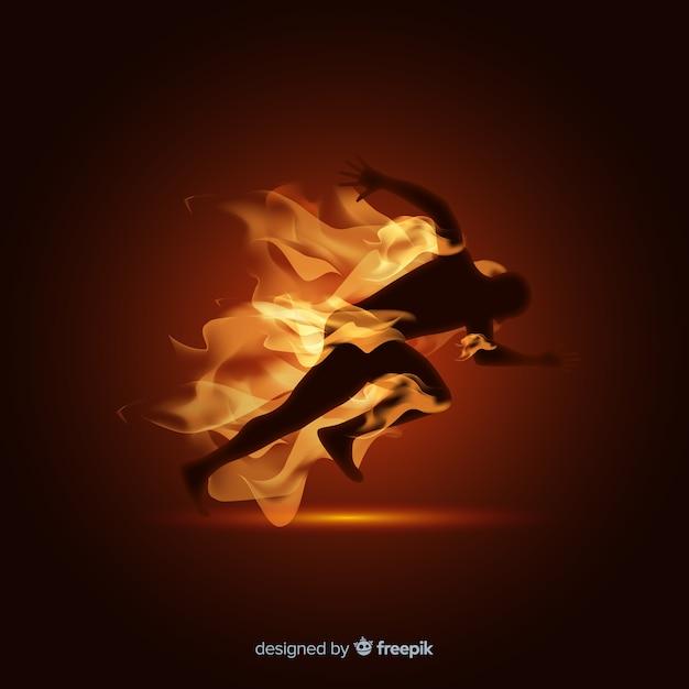 Homme, coureur, flammes, fond Vecteur gratuit