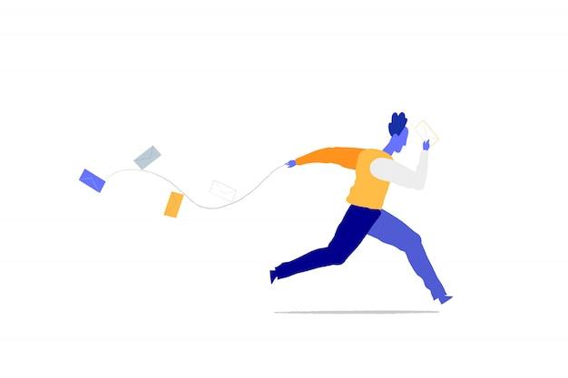 Un homme court pour livrer des mails Vecteur Premium