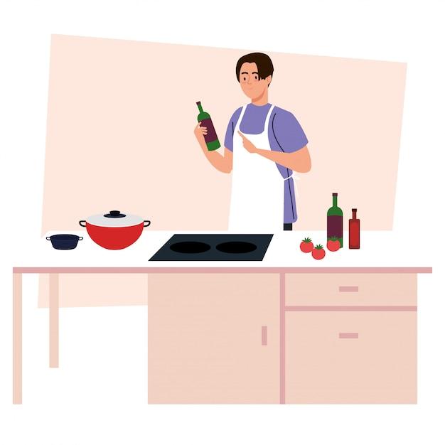 Homme Cuisinant à L'aide D'un Tablier, Sur Une Scène De Cuisine Avec Des Fournitures Et Des Légumes Vecteur Premium