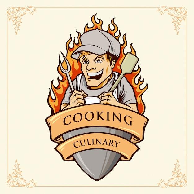 Homme De Cuisine Chef Smile Illustrations Avec Ruban Vecteur Premium