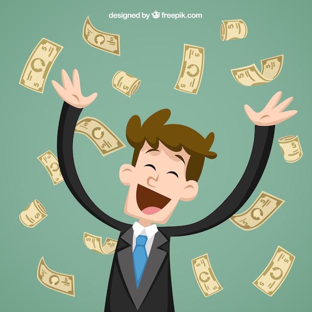 Homme d'affaires jetant des billets de banque Vecteur gratuit