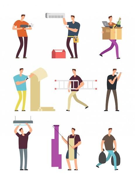 Homme dans les activités ménagères. réparation dans l'appartement diverses situations vectorielles jeu de caractères de dessin animé Vecteur Premium