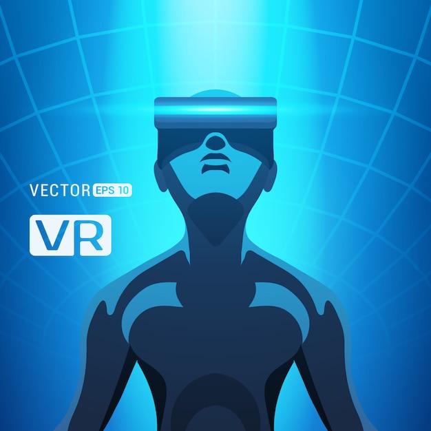 Homme dans un casque de réalité virtuelle. les hommes futuristes figurent dans un casque de réalité virtuelle sur un fond abstrait bleu Vecteur Premium