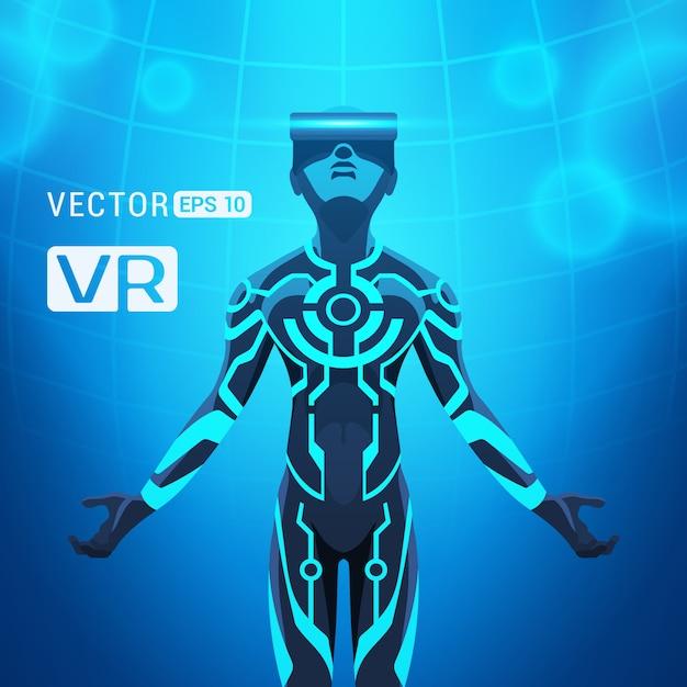 Un homme dans un casque de réalité virtuelle Vecteur Premium