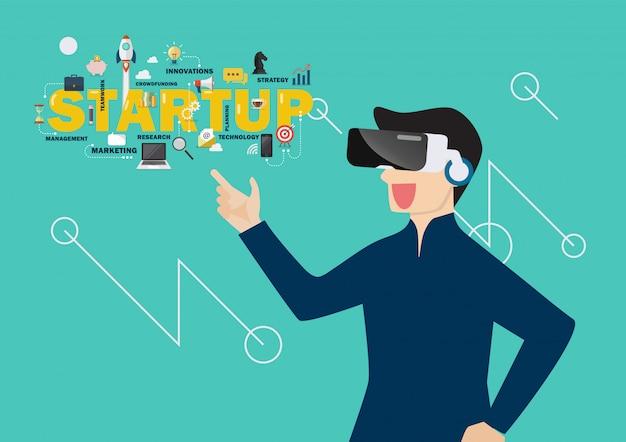 Homme dans le concept de démarrage de réalité virtuelle Vecteur Premium