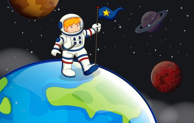 Un Homme Dans L'espace Extra-atmosphérique Vecteur gratuit