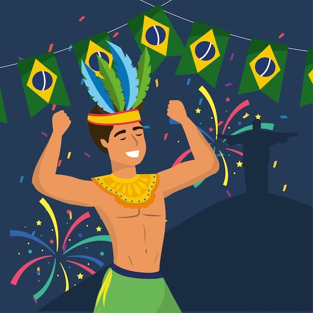 Homme, danseur, à, déguisement, et, fête, brésil Vecteur Premium