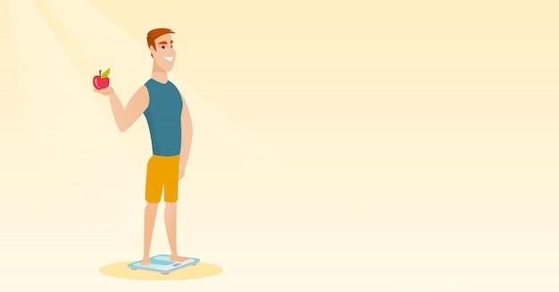 Homme debout sur une échelle et tenant la pomme à la main. Vecteur Premium