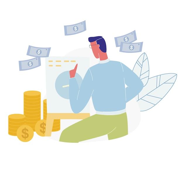 Homme debout sur un tableau à feuilles mobiles comptant des tas de pièces d'or Vecteur Premium