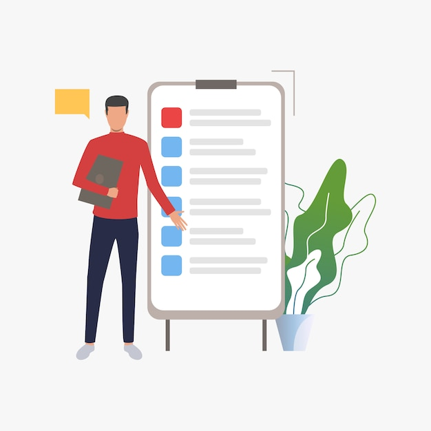Homme debout sur un tableau à feuilles mobiles avec liste Vecteur gratuit