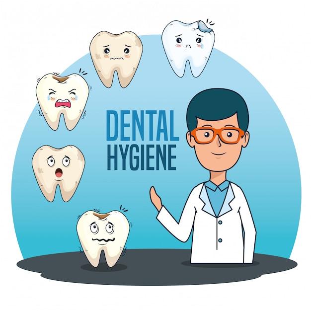 Homme dentiste avec diagnostic de médecine des dents Vecteur gratuit