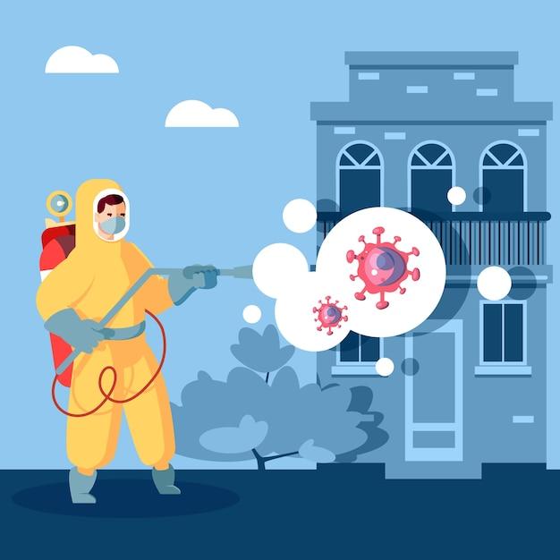 Homme De Désinfection De Virus Dans Les Matières Dangereuses Vecteur gratuit