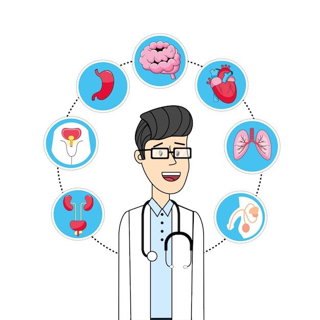 Homme avec diagnostic prévention contrôle maladie Vecteur Premium