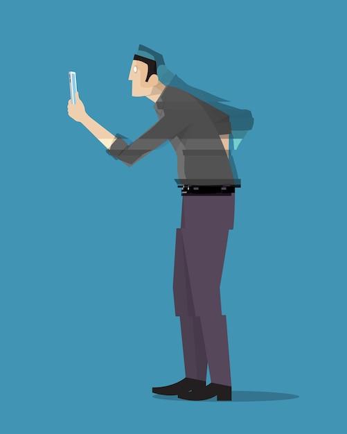 Un Homme Disparaissant En Regardant Son Téléphone Vecteur Premium