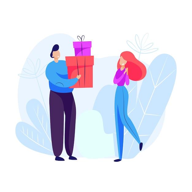Homme donnant des cadeaux à une femme Vecteur gratuit