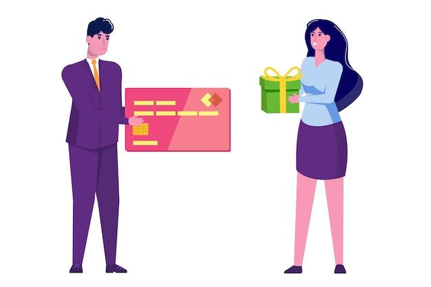 Homme Donnant Une Carte De Crédit Et Femme Avec Un Cadeau Au Design Plat Vecteur Premium