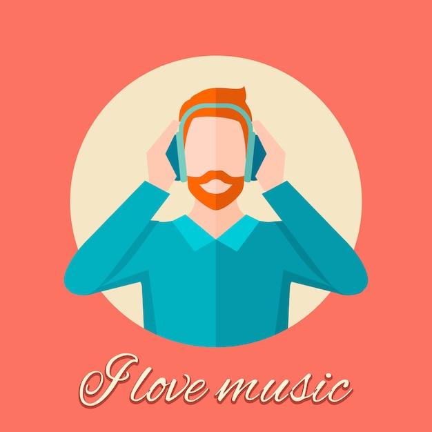 Homme écoutant de la musique Vecteur gratuit