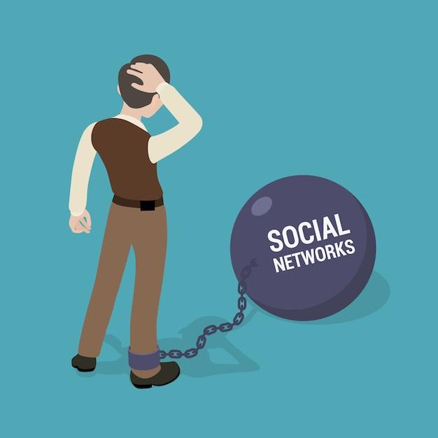 Homme enchaîné à un grand bol avec l'inscription réseaux sociaux Vecteur Premium