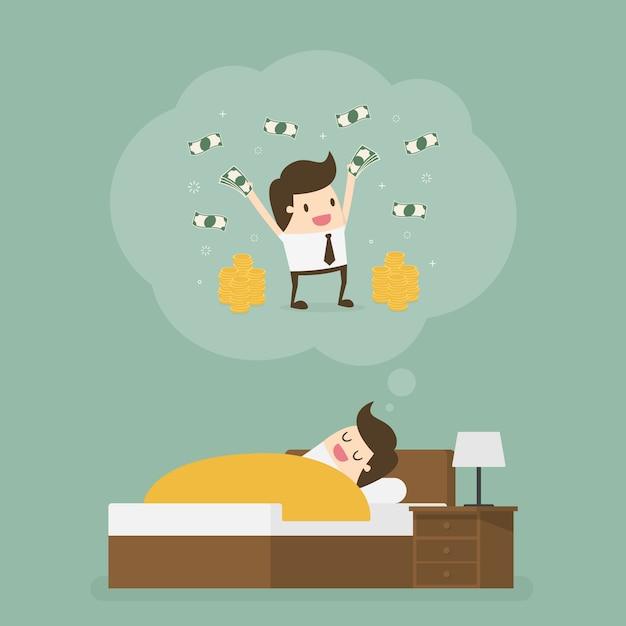Homme Endormi Rêvant De Beaucoup D'argent. Vecteur Premium