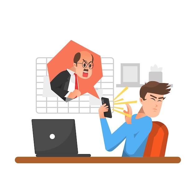 Un Homme Est Grondé Par Son Patron Grincheux Au Téléphone Vecteur Premium