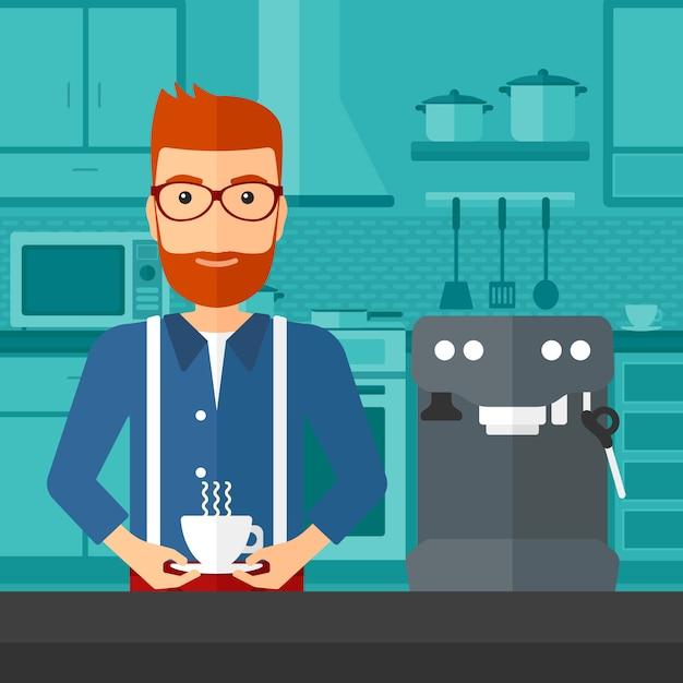 Homme faisant du café Vecteur Premium